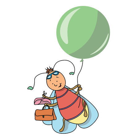 The firefly goes on a balloon journey illustration. Illustration