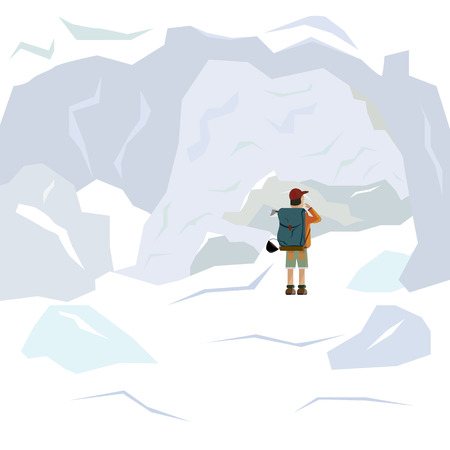 Deep cold snowy ice cave. Traveling naturalist. Illustration