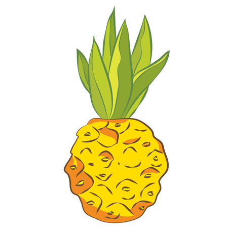 Bright, juicy and ripe pineapple. Vector graphics
