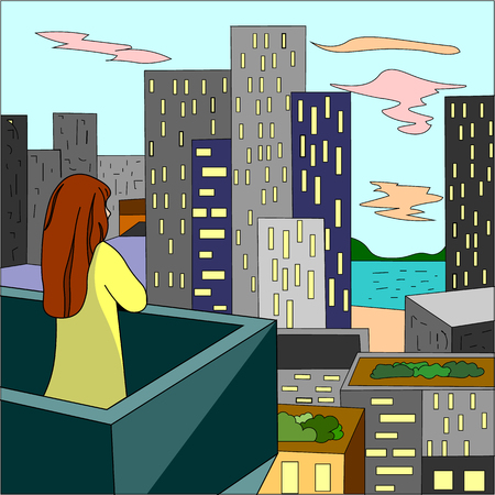 Girl on the balcony looking into the distance cartoon style Stock Illustratie