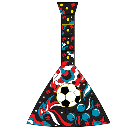 Russian folk musical instrument balalaika and soccer ball. Theme football in Russia