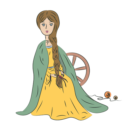A young girl with a long pigtail behind a spinning wheel.