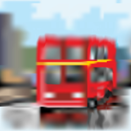 A two-storey red English bus blurred by rain. Vector drawing Illustration