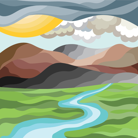Abstract mountain landscape in mosaic style. Vector graphics 写真素材