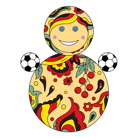 Football goes to Russia. Soccer ball and Russian childrens toy