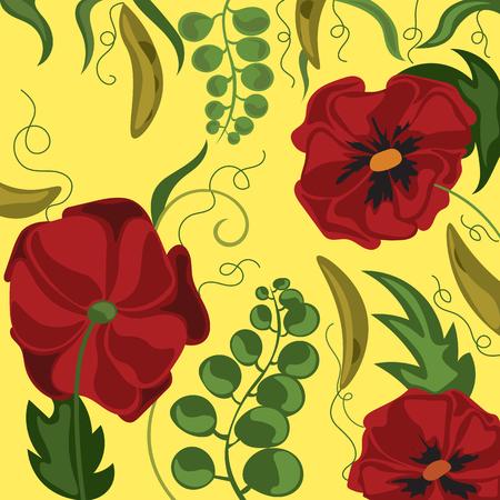 A bright magical poppy field. Fabulous wallpaper Иллюстрация