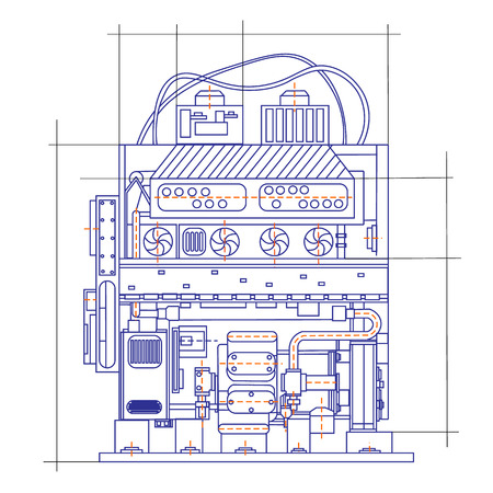 Free fantasy drawing of a refrigerating machine Vettoriali