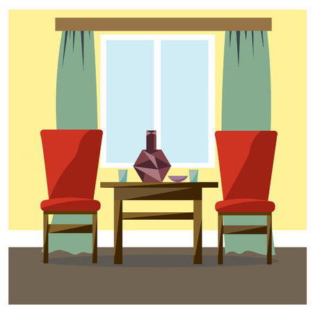 The interior of the room is furnished. Vector drawing