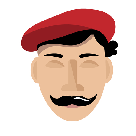 The face of a men in. Vector drawing Illustration