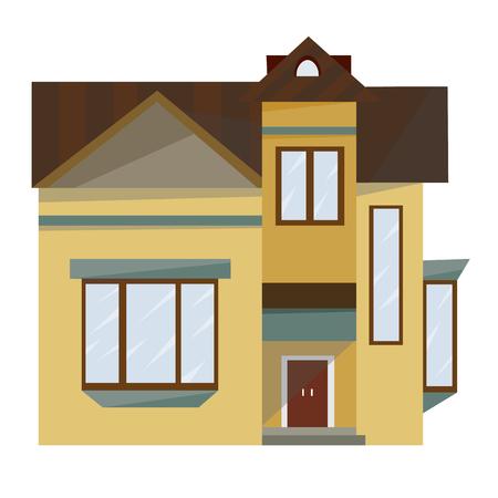 Volumetric image of the facade of the European home.