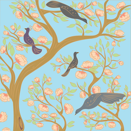Paradise birds on the branches of a flowering tree in the garden. Illustration