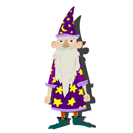 Old magician-astrologer with a hat and cloak.