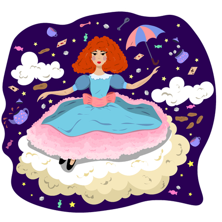 Girl in a dress on a cloud in the style of Alice in Wonderland.