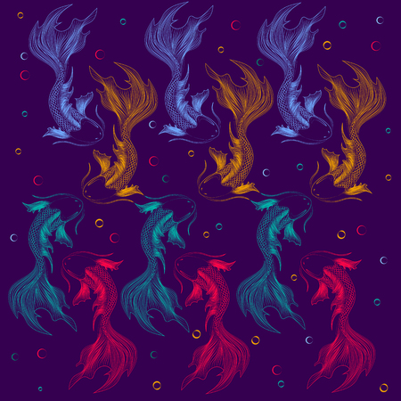 A flock of beautiful fish for a bright background image