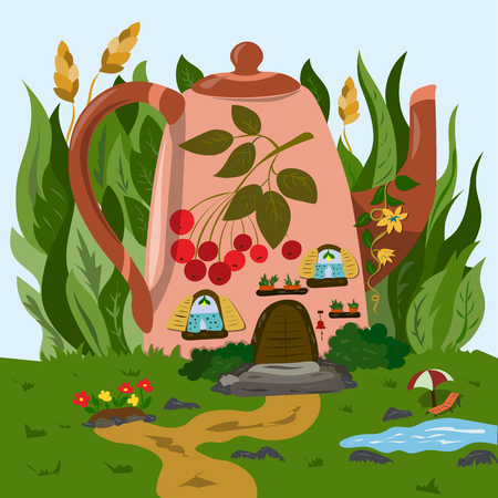 A cozy little house in a teapot in the grass Vetores