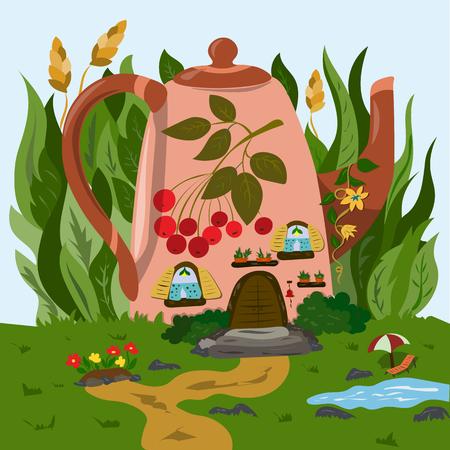Una piccola casa accogliente in una teiera nell'erba Vettoriali