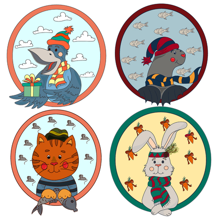 A large collection of cute animals and birds on a New Year theme Vetores
