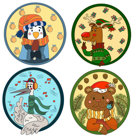 A large collection of cute animals and birds on a New Year theme