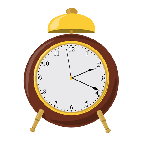 Vector alarm clock with bell and dial. Vector graphics.