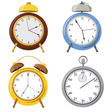 Vector alarm clock with bell and dial. Clock Set.