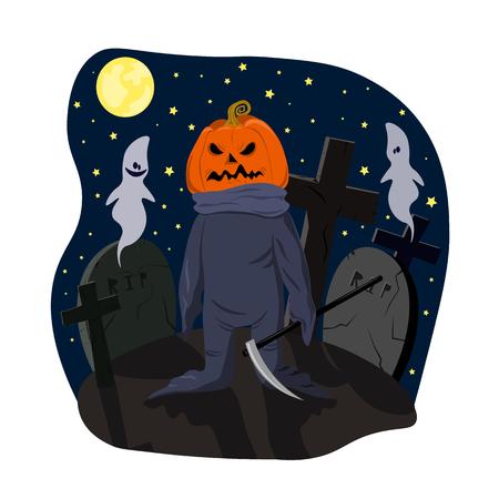 Monstre avec une tête de citrouille avec faux sur la nuit sombre au clair de lune du cimetière.