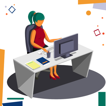Girl at the desk while working Vector business illustration. Standard-Bild - 109817537