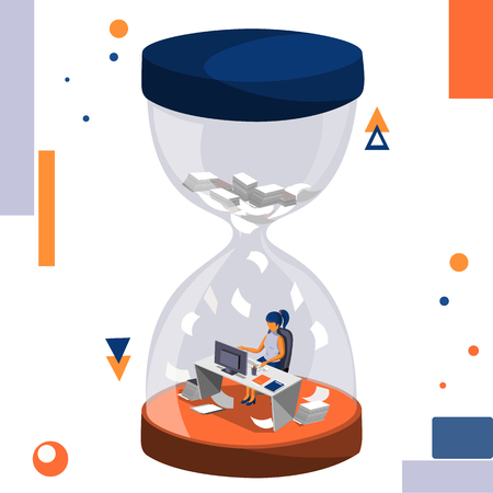 Lack of time, obstruction and deadline vector business illustration. Illustration