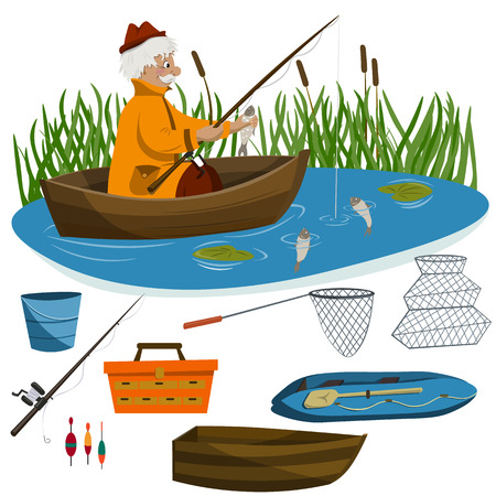 An adult man is fishing from a boat on a lake. Various fishing tackles and boats