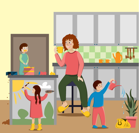 Tired mother housewife drink tea while the children have fun in the kitchen. Illustration in flat style Фото со стока - 116386303