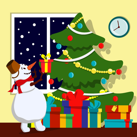Joyful snowman with a gift in his hands around the Christmas tree. Illustration in flat style