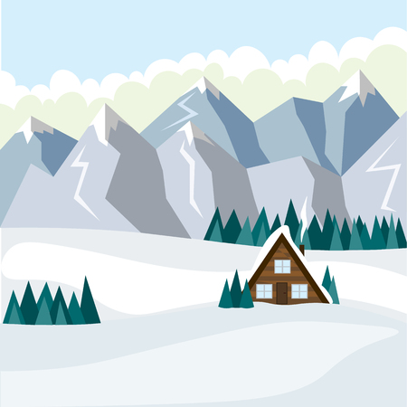 Cozy little house during the day against the backdrop of winter snowy mountains. Illustration in flat style