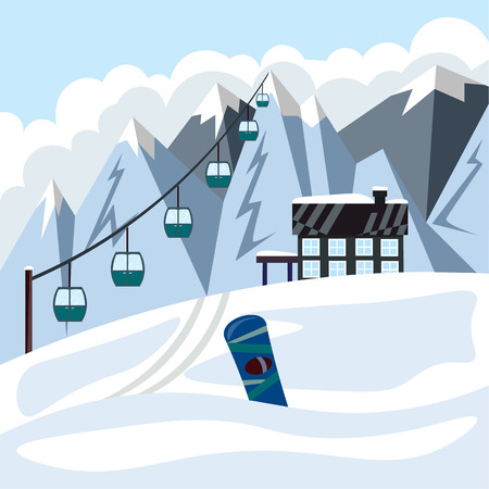 Winter ski resort with a cable car and a holiday house. Illustration in flat style 스톡 콘텐츠