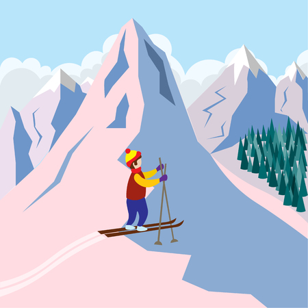 Active skier stands on the mountainside. Sports and recreation in the snowy mountains Illustration in flat style