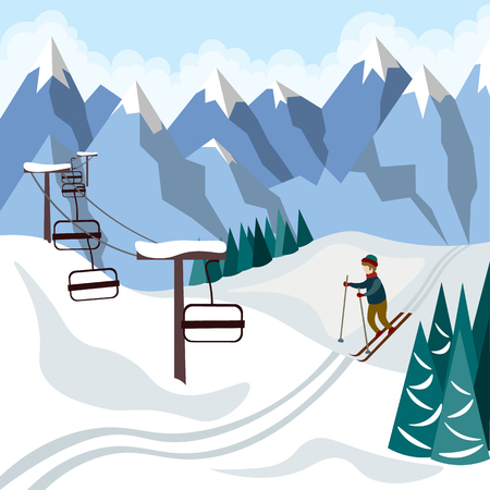 Active skier in the mountains and cable car to the top. Illustration in flat style Ilustração