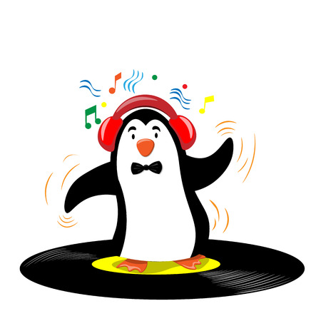 Little dancing penguin with headphones. Illustration in flat style