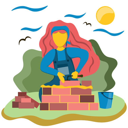 A young girl builds a house of brick. Illustration in flat style