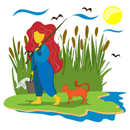 The girl goes with fishing with a catch in a bucket. A girl with a fishing rod and a red cat. Illustration in flat style
