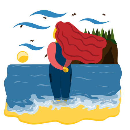 A girl stands on the beach with bare feet in the water looking at the sea. Illustration in flat style