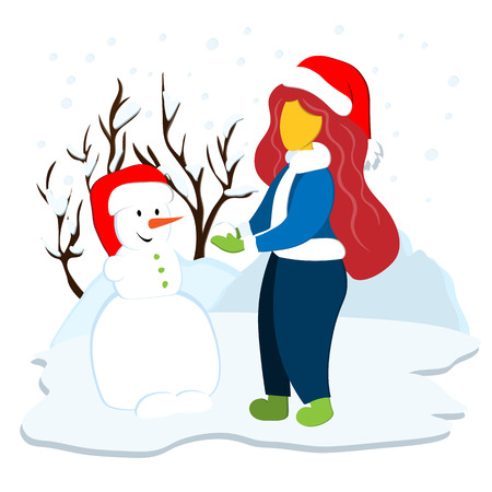 girl sculpts a snowman in a winter snowy day. Illustration in flat style