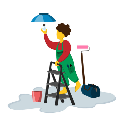 A male repairman fixes a light bulb while standing on a stepladder. Illustration in flat style