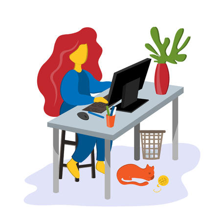 The girl works at home at the table and computer Home office. Illustration in flat style