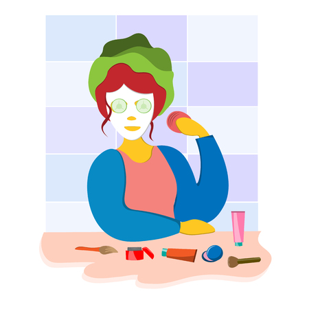The girl cares for the face, makes a mask, cleans the skin of the face and applies the cream. Illustration in flat style