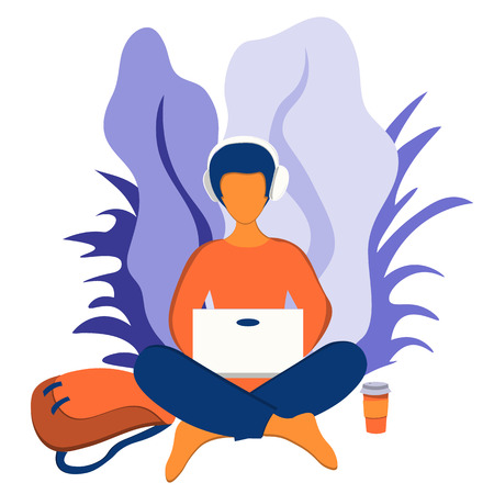 Young man sitting in the lotus position and working at a laptop outdoors. Work and hobby. Illustration in flat style