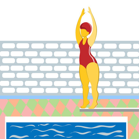 A girl in a bathing suit jumping from a springboard into the pool. Illustration in flat style.