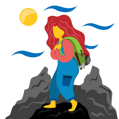Tourist girl with a backpack is engaged in tracking. Illustration in flat style