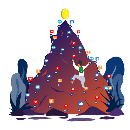 A  climbs up the mountain  relying on likes, posts, comments aiming for the top of success. Illustration in flat style