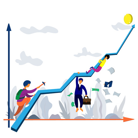Lifting people along the success curve, ups and downs. Success chart and people. Illustration on a business theme
