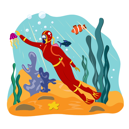 Girl scuba diver swims in the underwater world of the ocean. Illustration in flat style