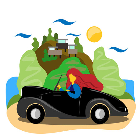 The girl rides a beautiful car along a beautiful promenade. Illustration in flat style 矢量图像