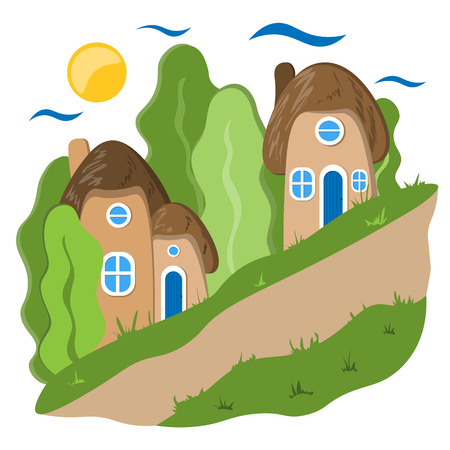 Cozy town is a small street with a sloping road. Illustration in flat style Ilustração Vetorial